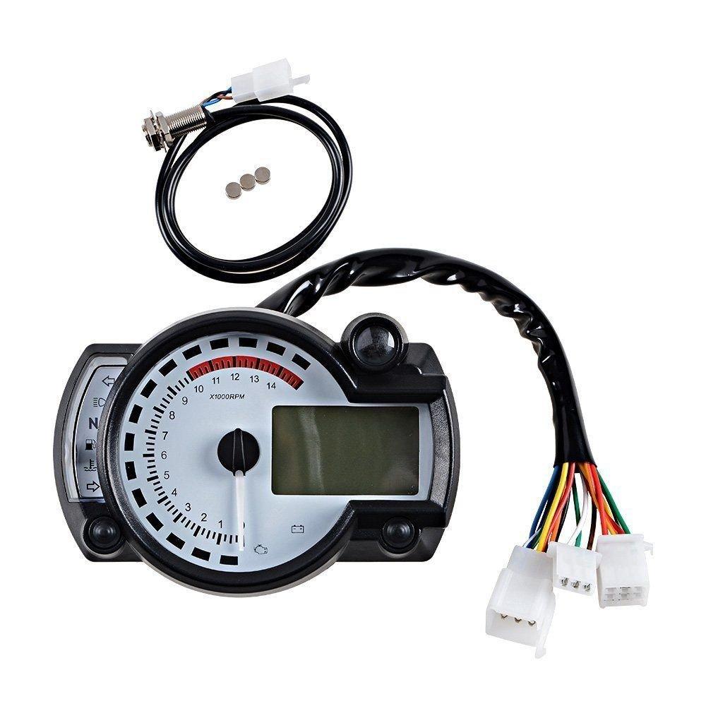 Universal 15000 RPM 299 KMH MPH Odometer Speedometer Tachometer Motorcycle 8-22 inch wheel adjust for HONDA, SUZUKI, KAWASAKI, YAMAHA etc. (White) xycity