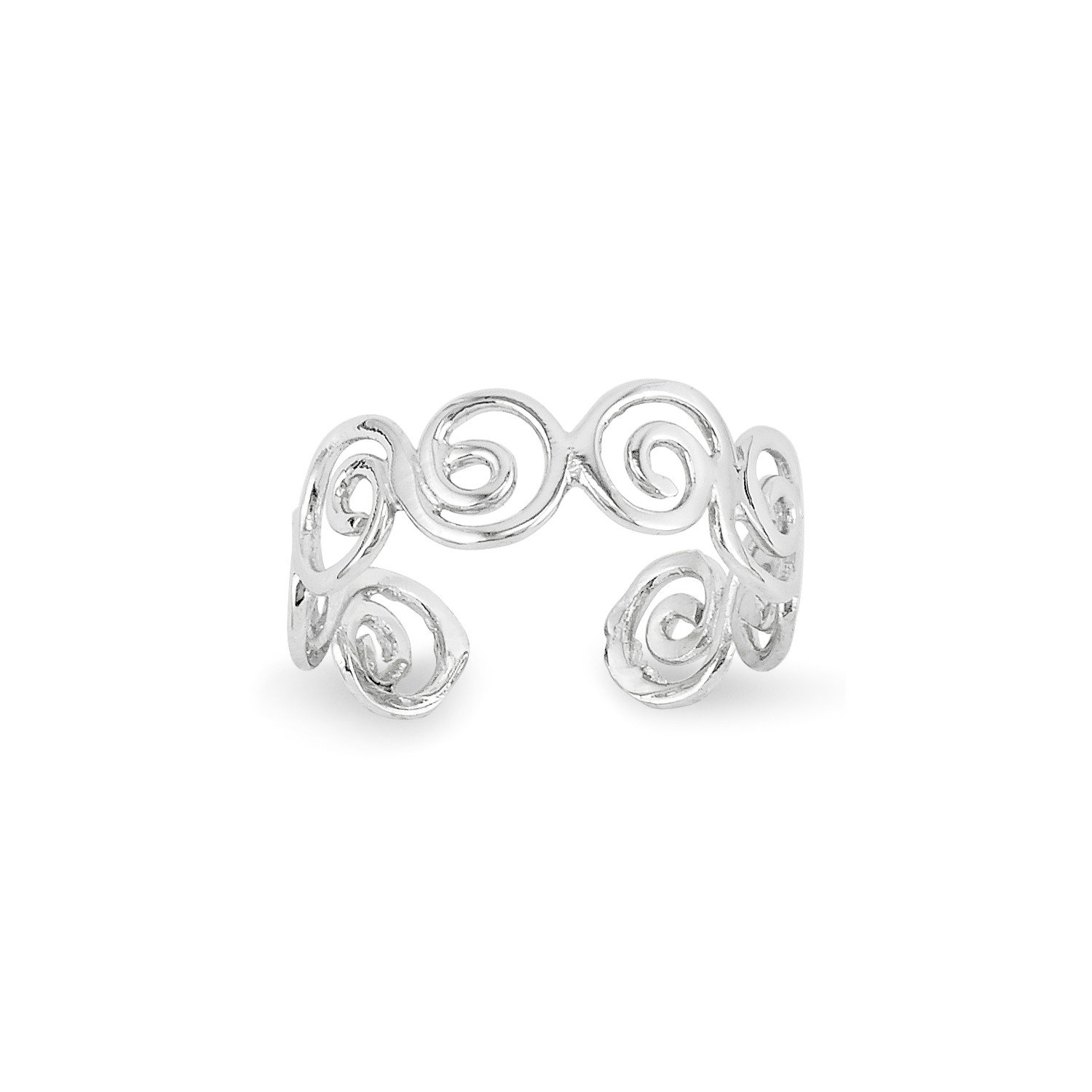 Roy Rose Jewelry 14K White Gold Swirl Toe Ring QG Mfg 137-868