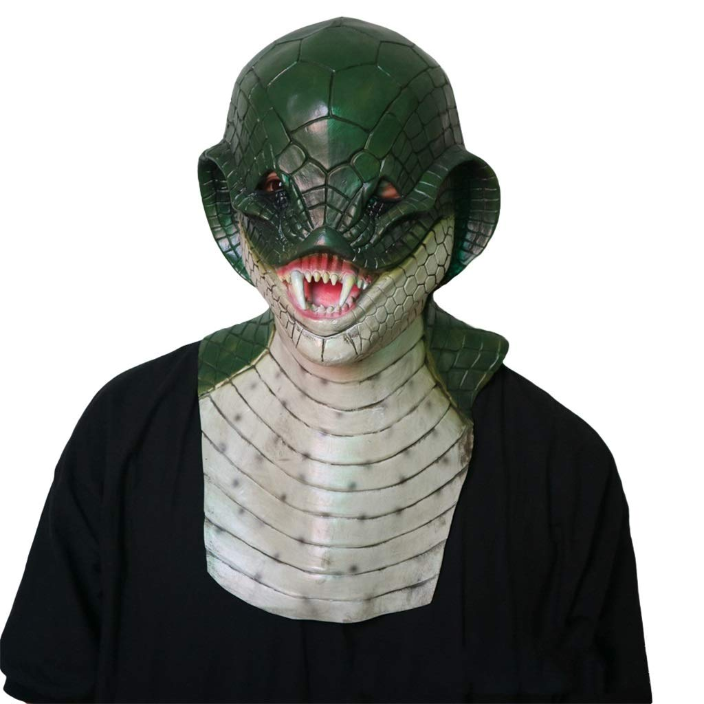 GXDHOME Maschera di Halloween in Lattice, Horror Demone Mostro Serpente Masquerade Horror Zombie Fantasma Creepy Fancy Dress Costume