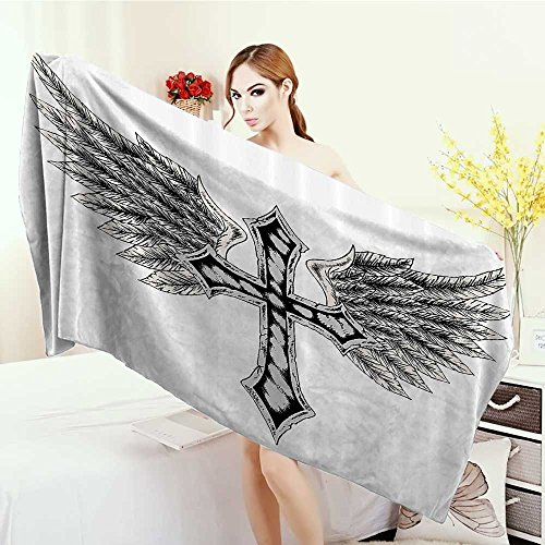 Washable Large Bath Towel Gothic Heraldic Wing and Symbol Fable Feathers Faith King Heraldic Theme Artwork Print 100% microfiber 55''x27.5'' Black Cream by Anhounine