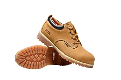 01124068e18 Men's Low-Cut Work or Casual Leather Boots with Steel Toe Option/Driving  Loafer/Walking Mesh Sneaker/Vegan Moccasin Water Resistant Shoes