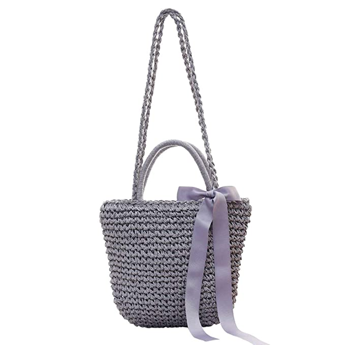 089e8dd7b268 Image Unavailable. Image not available for. Color  Fanspack Womens Summer  Beach Straw Tote Handbags Ribbon ...