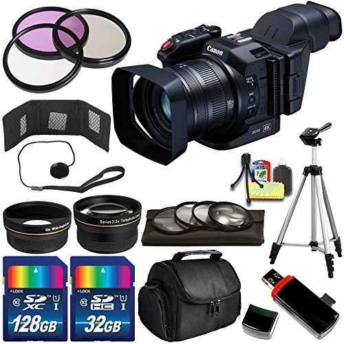 Canon XC10 4K Professional Camcorder - International Version (No Warranty) + 160Gb Bundle + Deluxe Accessory Kit + Memory Card Wallet by eBasket