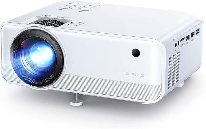 Proyector APEMAN 6000 Lúmen Mini Proyector, Soporte 1080p HD Portátil LED Proyector, Duales Altavoz, 50,000 Horas de Vida, de Cine en Casa Soporte HDMI,USB,VGA,TF, y TV Stick