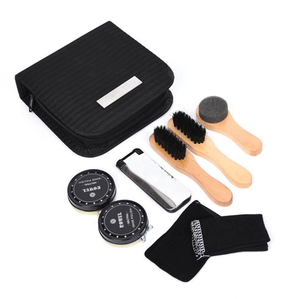 8 PCS Shoe Shine Kit, Travel Shoe Shine Brush kit with PU Leather Sleek Elegant Case,100% Horsehair Brushes, Shoe Polish, Shoe Horn, Microfiber Shine Cloths! Sedensy