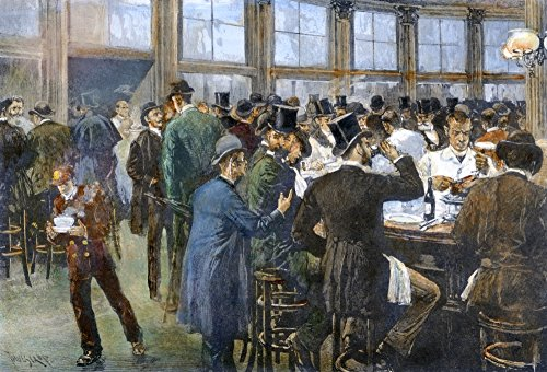A Downtown Lunchroom Nin ManhattanS Business District 1888 Contemporary Line Engraving After A Drawing By Thure De Thulstrup Poster Print by (24 x 36)