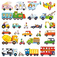 DECOWALL DW-1405 The Transports Kids Wall Stickers Wall Decals Peel and Stick Removable Wall Stickers for Kids Nursery Bedroom Living Room
