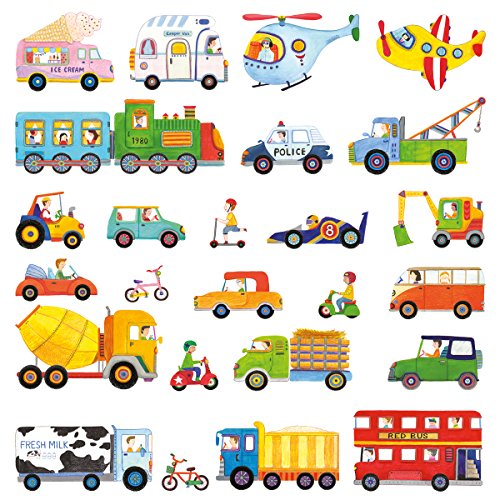 DECOWALL DW-1405 The Transports Kids Wall Decals Wall Stickers Peel and Stick Removable Wall Stickers for Kids Nursery Bedroom Living Room - Peel 50 Car