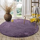 LOCHAS Round Area Rug (4x4 Feet), Super Soft Living Room Fluffy Carpet Bedroom Rugs for Kids Nursery, Grey-Purple