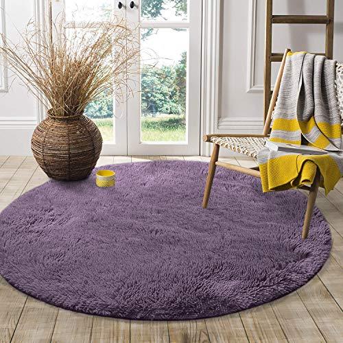 LOCHAS Round Area Rug (4x4 Feet), Super Soft Living Room Fluffy Carpet Bedroom Rugs for Kids Nursery, Grey-Purple (Lily Pad Area Rug)