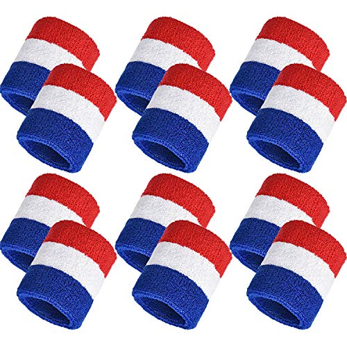 Bememo 12 Pack Sweatbands Sports Wristband Cotton Sweat Band for Men and Women, Good for Tennis, Basketball, Running, Gym, Working Out (Red White and Blue)