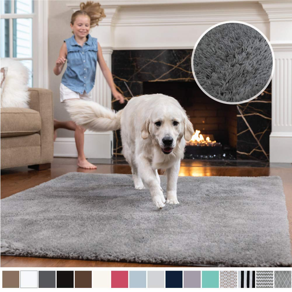 Gorilla Grip Original Faux-Chinchilla Area Rug, 3x5 Feet, Super Soft and Cozy High Pile Washable Carpet, Modern Rugs for Floor, Luxury Shag Carpets for Home, Bed and Living Room, Dark Gray