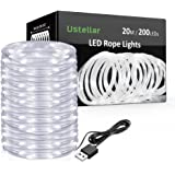 Ustellar 20m LED Rope Lights USB Operated, 200 Micro LEDs, IP65 Waterproof Copper Wire Fairy Lights, Outdoor Flexible LED String Lights for Garden Tree Christmas Wedding Decoration, 5V Daylight White