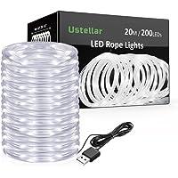 Ustellar 20m LED Lichterschlauch, 200 LED USB Lichtschlauch, IP65 Wasserdicht Kaltweiß Dekolicht für Außen Innen Weihnachten DIY Deko Hochzeit weihnachtsdeko