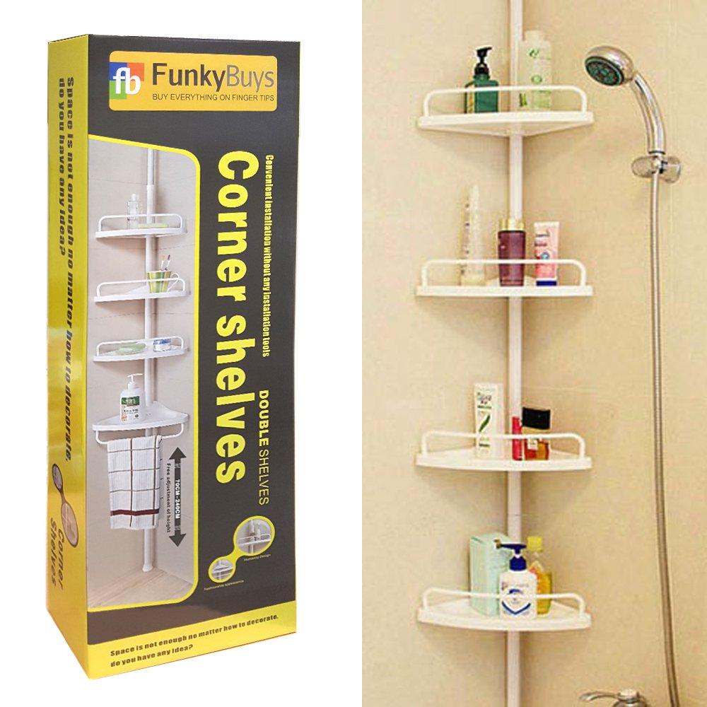 Bathroom shelves corner - Funkybuys Deluxe Branded White 4 Tier Telescopic Adjustable 70cm 248cm Corner Shower Bathroom Organiser Shelf Caddy Holder Amazon Co Uk Kitchen