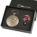 Superman Shield Logo Pocket Watch for Boy Men Gift Set Retro Bronze Cool 3D Superhero Watches with Glass Dome Pendant Necklace