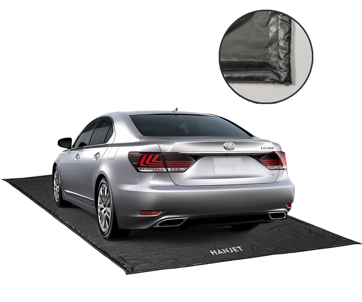 Garage Floor Mat for Car, Hanjet Containment Mat Black for Snow, Mud, Rain (7ft 9in x 18ft)