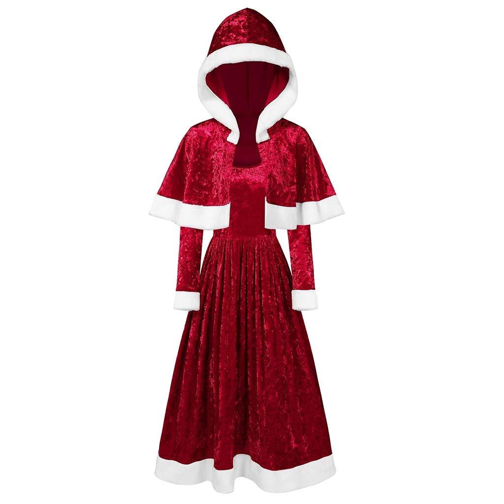 Merry for Girl Velvet Long Sleeve O-Neck Festival Dress and Hooded Cape(S,Red) by Annhoo
