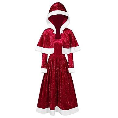 Conjunto de Vestido con Capa, Disfraces de Papá Noel para Navidad ...