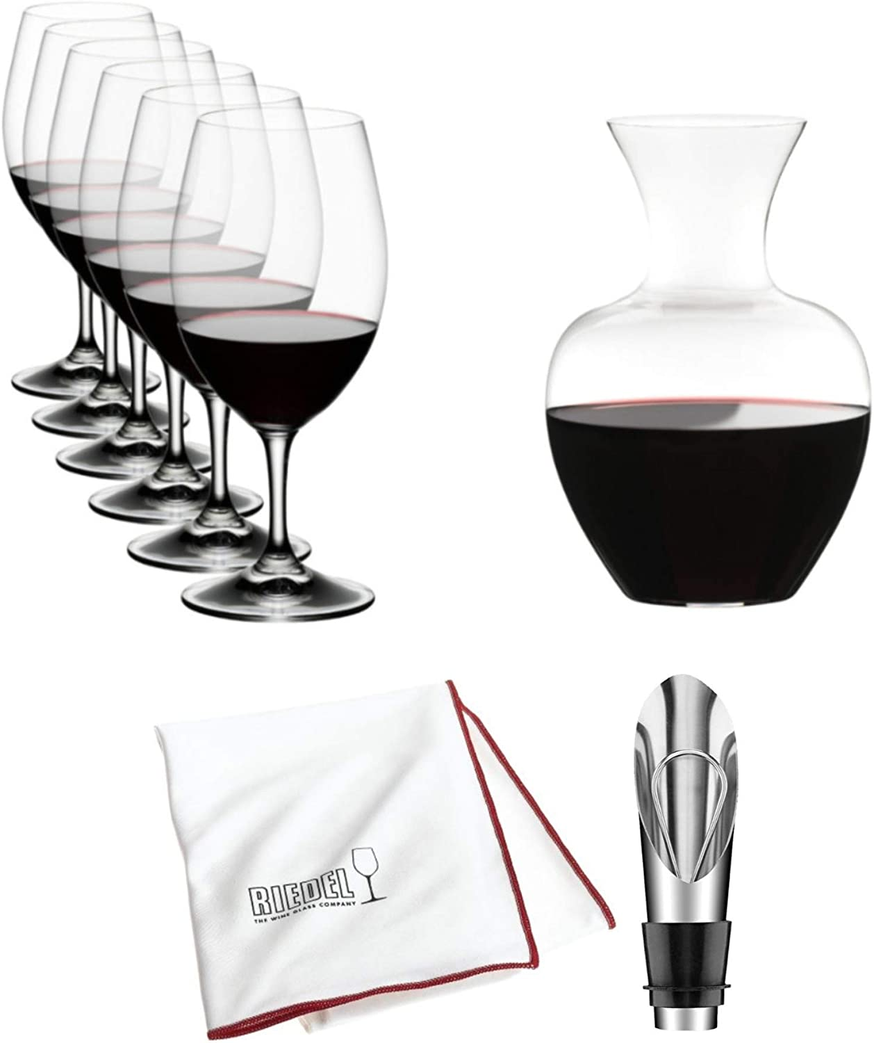 Riedel Ouverture Magnum 6-Piece Glass Set with Apple Decanter and Accessory Bundle (3 Items)