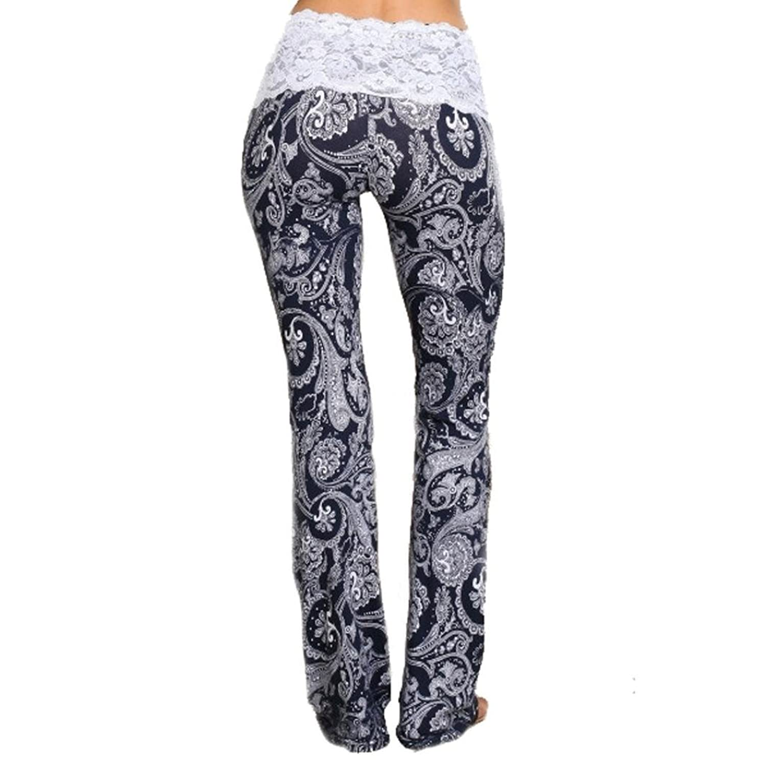 Gillberry Women Floral Printed Lace Splice Stretch High Waist Pants Trousers