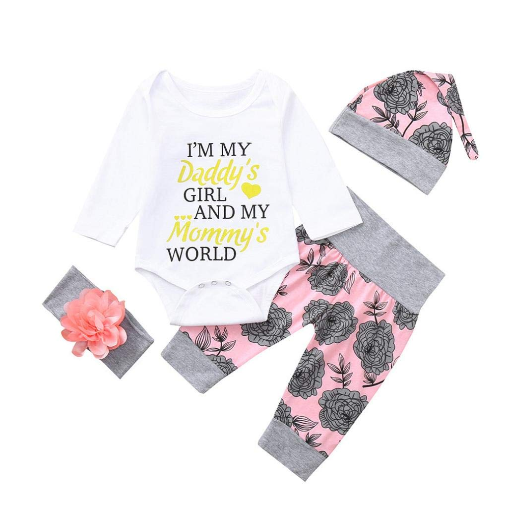 Staron  Newborn Baby Romper Outfits Daddys Girl Tops Floral Pants Hat Clothes Set