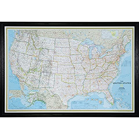 Craig Frames Wayfarer, Classic United States Push Pin Travel Map, Traditonal Black Solid Wood Frame and Pins, 24 by - Detail Map