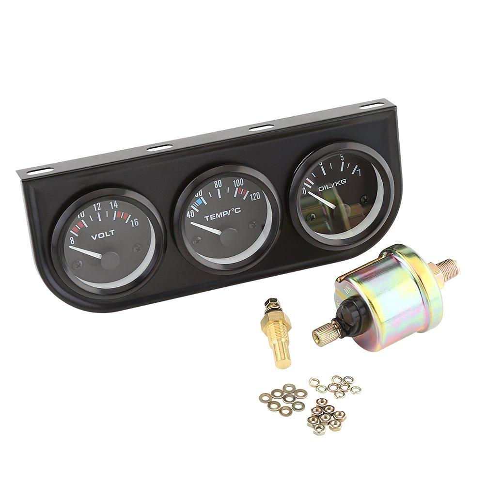 3 IN 1 Voltmeter Water Temp Oil Pressure Gauge Tachometer Kuuleyn Triple Gauge Kit Black