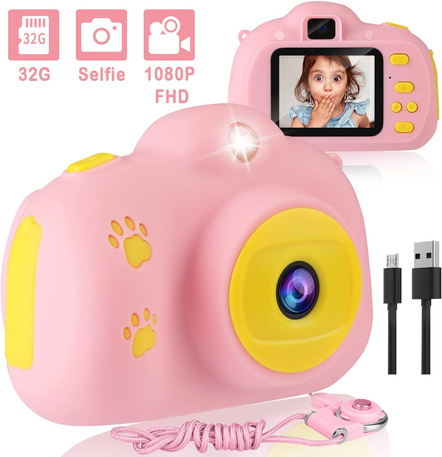 AIMASON, Kids Camera 1080P FHD Digital Video Camera with 2-inch IPS Screen Rechargeable Shockproof Selfie Camera with 32GB SD Card for 3-10 Years Children