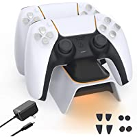 BEJOY PS5 Charging Station, Dual Type-C Controller Charger with Adapter and Trigger Kit, Fast Charging Dock with LED…
