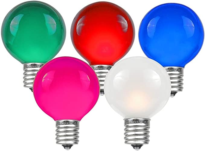 Novelty Lights 25 Pack G50 Outdoor Patio Globe Replacement Bulbs Multi E17 C9 Intermediate Base 7 Watt Decor Bulbs Garden Outdoor Amazon Com