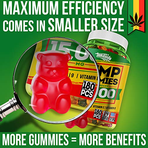 61dQK35ep1L - Hemp Gummies 15000 MG - Made in USA - 180 MG Hemp in Each Gummy - Premium Hemp Extract - CO2 Extraction - Omega 3, 6, 9 - Anxiety & Stress Relief - Sleep & Mood Improvement