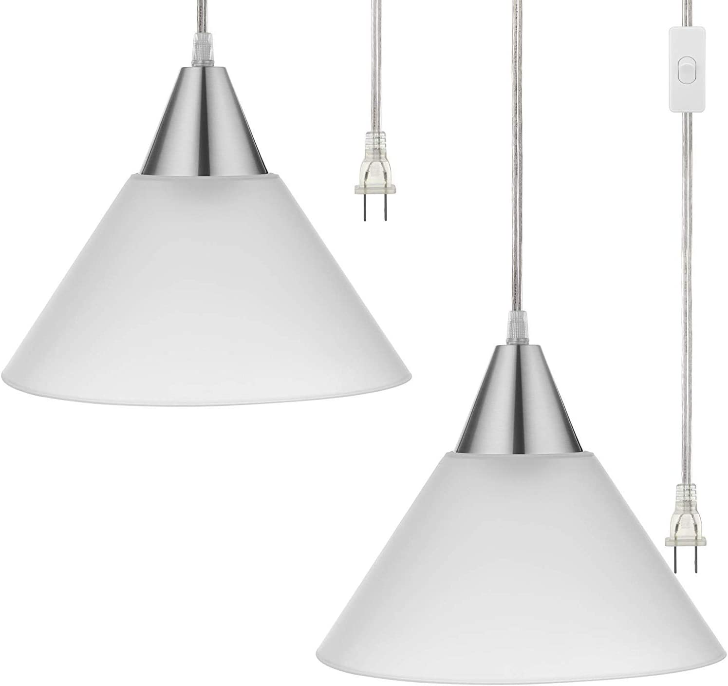 Amazon Com Dewenwils Plug In Pendant Light Hanging Light With 15ft Clear Cord On Off Switch Frosted Plastic White Shade Hanging Ceiling Light For Living Room Bedroom Dining Hall Pack Of 2 Home Improvement