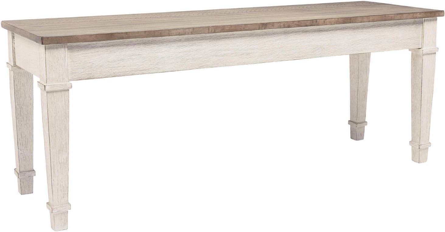 Signature Design by Ashley Skempton Storage Bench, White/Light Brown