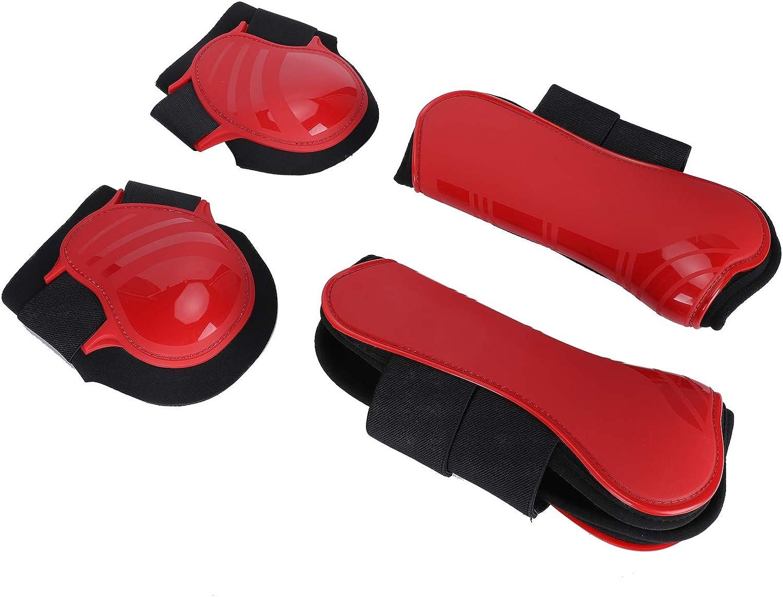 SALUTUYA Protectores de Patas de Caballo, Antideslizantes, duraderos, espesos, Rojos para Proteger Las Patas de los Caballos(Red, Set of Large)