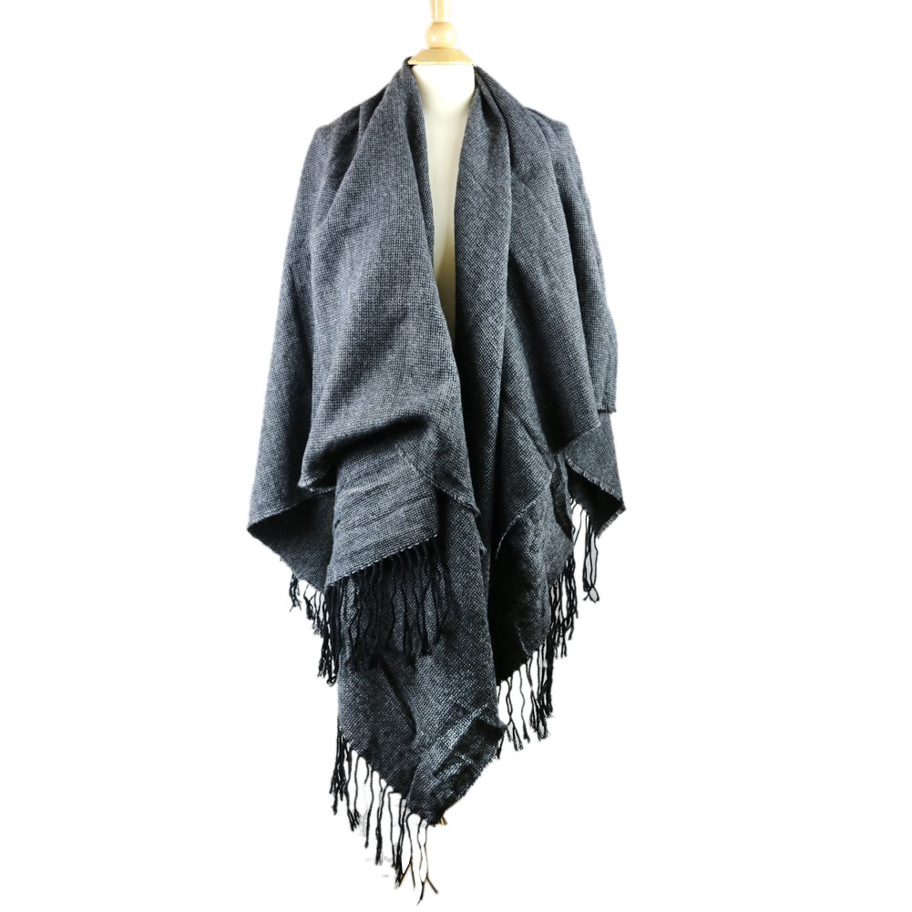 The Elixir Winter Knitted Poncho Capes Pashmina Shawl Cardigans Sweater Tessel Wrap Coat