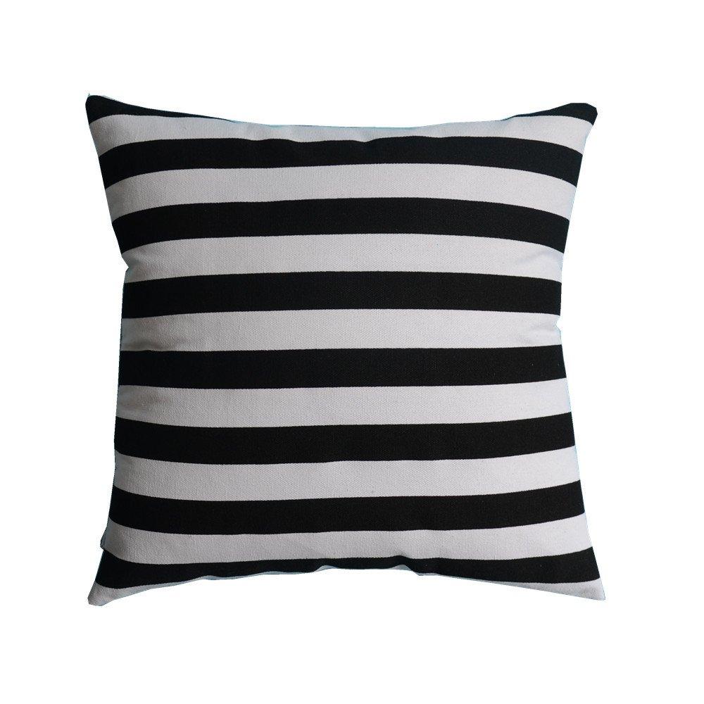 M MOCHOHOME Decorative Cotton Canvas Black/White Stripe Square Throw Pillow Cover Case Pillowcase Cushion Sham - 22'' x 22''