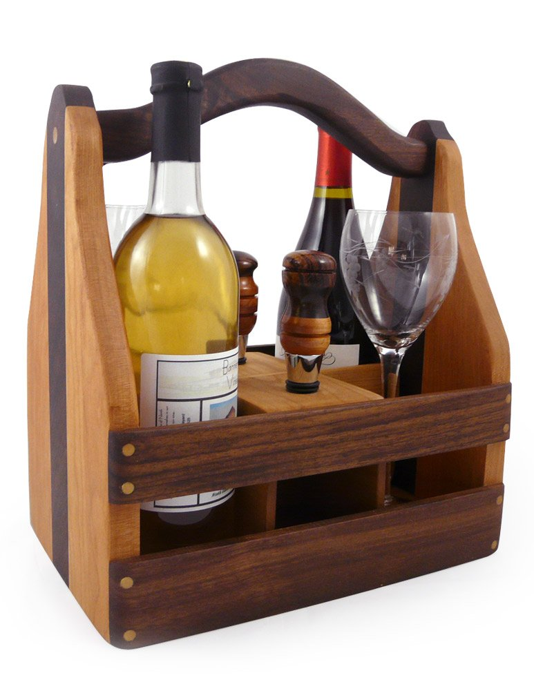 American Made Convertible Beer Case and Wine Caddy, Cherry and Walnut Wood with 2 Wine Stoppers