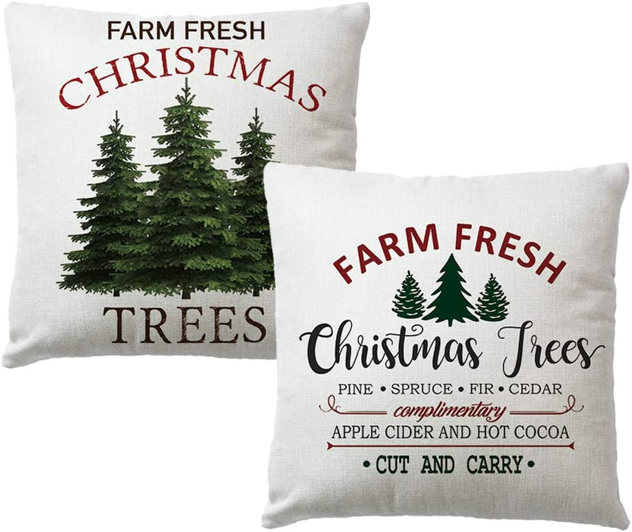 7COLORROOM 2Pack Christmas Pillow Cover Farm Fresh Christmas Tree Cushion Cover Cotton Linen Square Home Decorative Throw Pillow Covers for Sofa,Couch,Bed (2P Christmas Tree)
