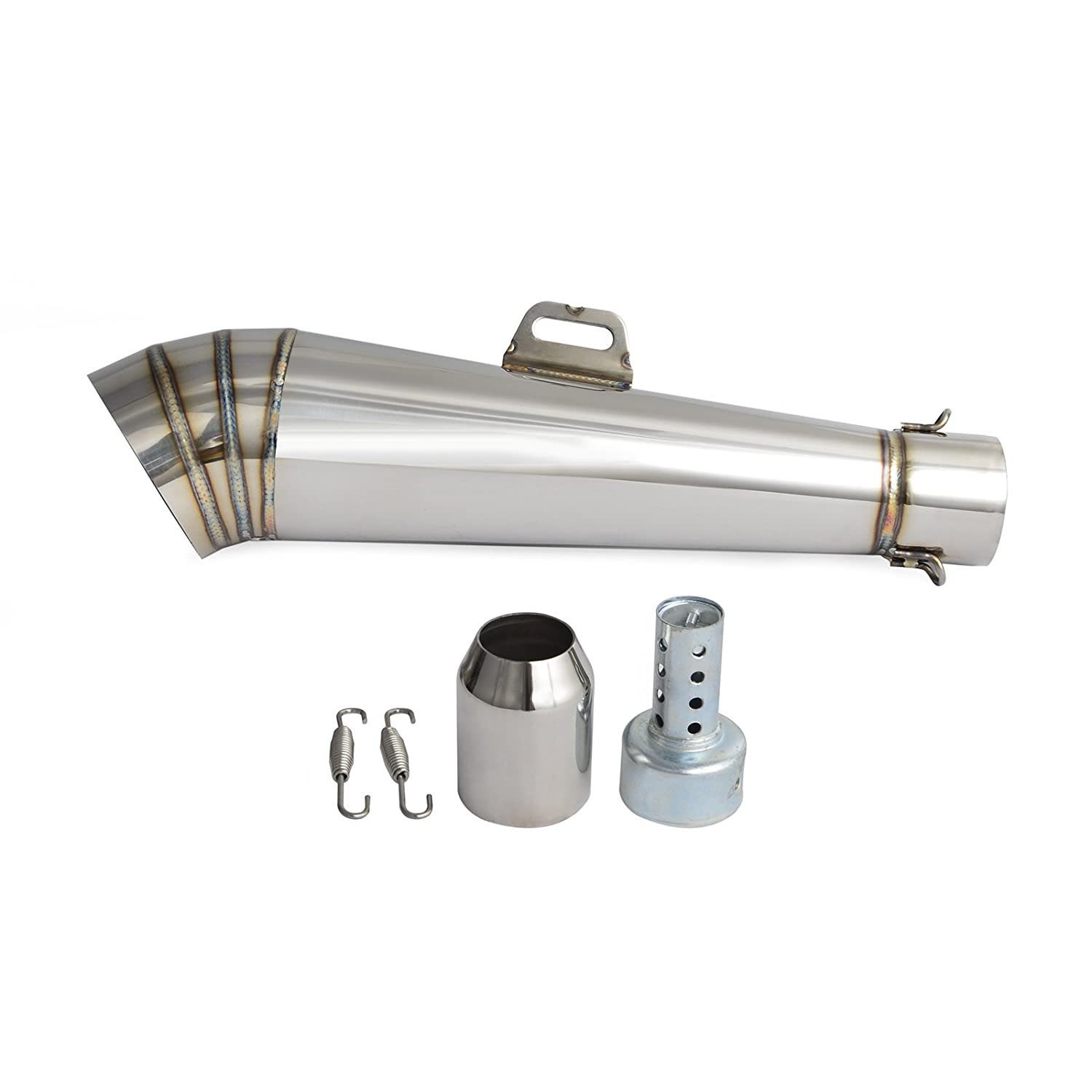 NICECNC Universal Stainelss Steel GP 38-51mm Slip-On Type Exhaust Muffler Pipe & Removable DB Killer for 125-1000CC Motorcycle & Scooter