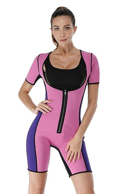 Traje faja monoshort de neopreno con pantalón y manga cortos, traje térmico completo con parte del pecho abierta, adelgazante, efecto sauna.