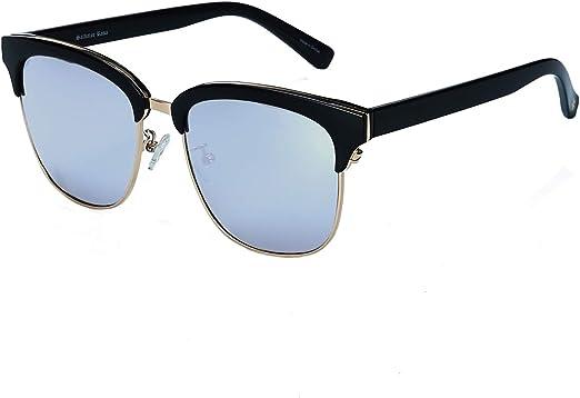 NEW BLACK CLASSIC Fashion Vintage GOLD BLACK ACCENT HALF FRAME SUNGLASSES Unisex