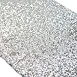 TRLYC 12x120-inch Silver Sequin Table Runners for Thanksgiving Day Christmas Mathers' Day,3 Pieces