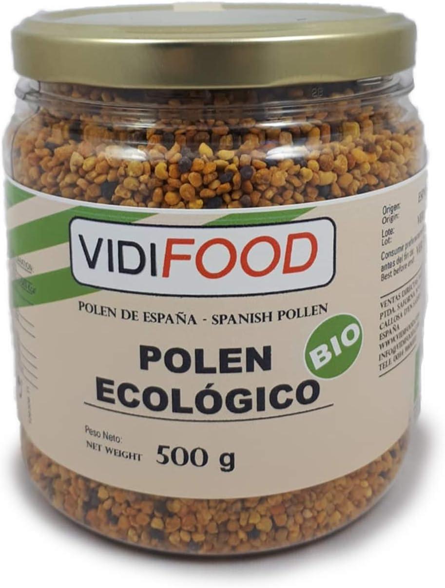 Polen Ecológico de Abeja Natural en Grano - Certificado Orgánico ECO - 500g - Producto de España - Ayuda para cuidar su salud y perder peso - Aumenta energía, combate la fatiga