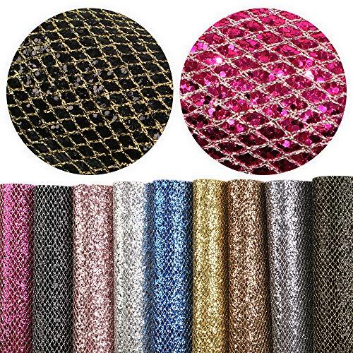 Patrón de tela en rombo con purpurina, 9 unidades de 20 cm x ...
