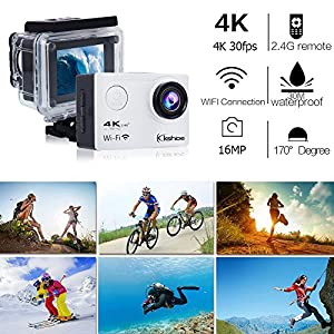 Kshioe 4K WIFI Sports Action Camera,16MP 170°Wide Angle LCD Screen Ultra HD 30M Waterproof DV Camcorder with 2.4G Remote Control +2Pcs 1050Mah Rechargeable Batteries +USB Dual battery Charger Silver