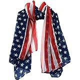 Amlaiworld Femmes Foulard en mousseline de soie de drapeau américain, 150cmx70cm