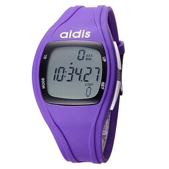 LONGQI WATCH - Reloj de pulsera digital LED con podómetro luminoso para niños y niñas (morado): Amazon.es: Relojes