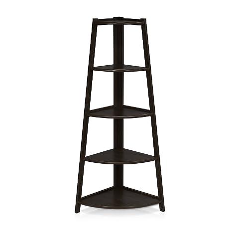 Beau Furinno FNAJ 11112 1 5 Tier Corner Ladder Garden Shelf, Espresso