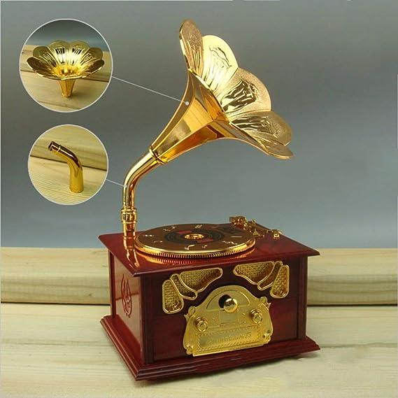 SODIAL Caja de Música Vintage Clásica En Forma de Gramófono Caja ...